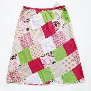 """Patchwork A-Line Elastic Waist Skirt 2 26"""" x 23.5"""""""